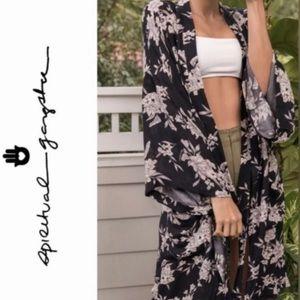 "SPIRITUAL GANGSTER ""Maya"" black w/ flowers kimono."